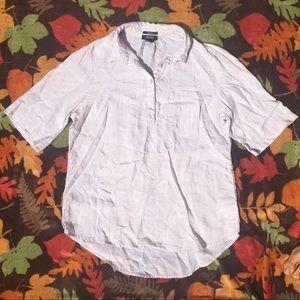 100% Linen White Cream Short Sleeve Shirt